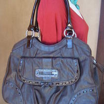 New Guess Brown Faux Leather Bag W Patent and Bow Silver Rings Satchel Purse Slg Photo