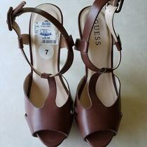New Guess  Brown Faux Leather High Heels Shoes Photo