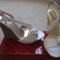 New Guess by Marciano Leather Shoes Wedges Size 5.5 White Photo