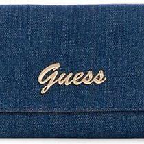 New Guess Factory Women's Corwin Blue Denim Slim Wallet Clutch Bag  Photo