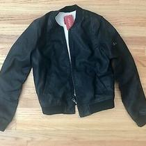 New Guess Faux Bomber Fully Zipped Leather Jacket S Photo