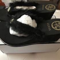 New Guess Faux Fur Wedge Thong Sandals 10m 30 Photo