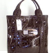 New Guess Handbag Purse Shiny Black Glow Candy Tote Nwt  Photo