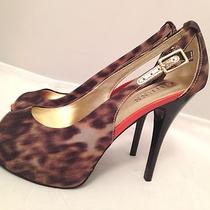 New Guess Hondo 4 Leopard Cheetah Print Peep Toe Pumps Heels Womens Size 6.5 M Photo