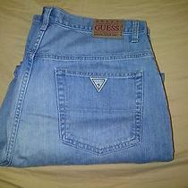 New Guess Jeans 36w 32l Light Blue Denim Straight Leg Stylish High End Photo