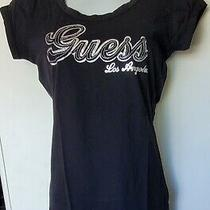 New Guess Jeans Jet Black Silver T-Shirt Extra Small Xs Los Angeles Photo