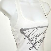 New Guess Jeans True  White Tank Top  Crystal Rhinestone Extra Large Xl Photo