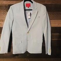 New Guess La Mens Designer Light Blue Blazer Suit Jacket Top Sz S 100% Cotton Photo