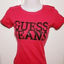 New Guess Logo T-Shirt Tee Top Candy Apple Pink Nwt Size Small S Photo