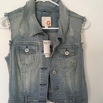 New Guess Medium Junior/woman's Sleeveless & Button Up Jean Jacket. Was 44.50 Photo