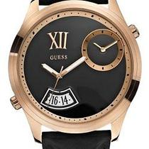 New  Guess Men's U0260g2 Trendy Oversized Black & Rose Gold-Tone Leather Watch Photo