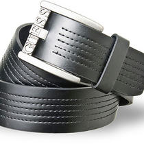 New Guess Mens Black Leather Stitching Casual Brushed Nickle Buckle Belt 40 Photo