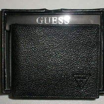 New Guess Mens Wallet Leather Black Bifold  Photo