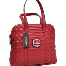 New Guess Mica Womens Purse Red Quilted Tote Faux Leather Medium Bag Photo