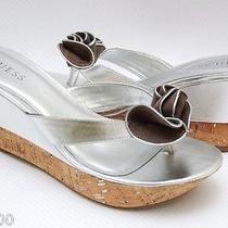 New Guess Nina Wedge Platform Thong Sandal Heel Shoe Silver 10 Photo