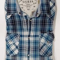 New Guess Ocean Blue Plaid Thick Cotton Casual Dress Shirt W/ Snap Btns Size L Photo
