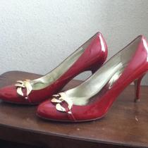 New Guess Red Heels Patent Leather Gold Hardware Size 7 Photo