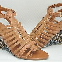 New Guess Schyler Woven Strappy Wedge Sandal Heel Shoe Brown 9.5 Photo