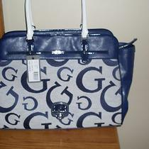  New Guess Signature Ingrid Logo Navy Blue Satchel Tote  Handbag Bag Nwt  Photo