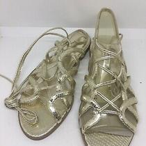New Guess Strappy  Gold Flat Sandal Size 7 1/2 Photo