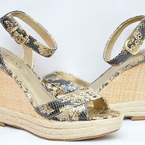 New Guess Trissa Espadrille Wedge Sandal Platform Shoe  Lt. Brown/python 9 Photo