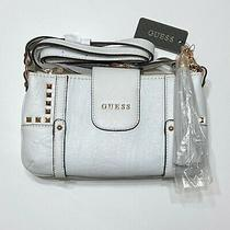 New Guess White Rose Gold Leather Studded Purse Crossbody Bag Photo