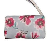 New Guess Women's Avalene Pink Purple Floral Double Zip Around Wristlet Wallet Photo