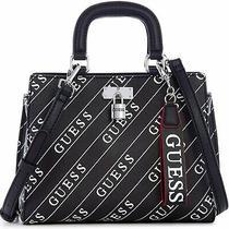 New Guess Women's Black White Logo Print Small Mini Handbag Purse Crossbody Bag Photo