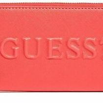 New Guess Women's Rigden Red Logo Debossed Zip-Around Wallet Clutch Bag Photo
