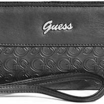 New Guess Women's Valora Black Logo Debossed Phone Zip Around Wallet Wristlet Photo