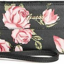 New Guess Women's Valora Black Pink Floral Print Zip Around Wallet Wristlet Photo