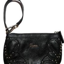 New Guess Wristlet-Designer Black-Zip Close-Clutch Purse-Guess Logo-  Photo