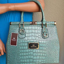 New Gvani Classic Patent Croc Twist-Lock Tote -Turquoise -Msr 139.99 Photo