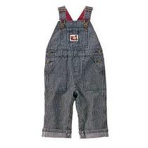 New Gymboree Holiday Express Boys 6 12 Months Blue White Striped Denim Overalls Photo