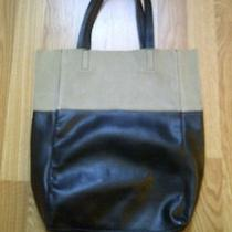 New h&m Color Block Tote Tan Suede and Black Faux Leather Photo