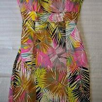 New h&m Fitted Strapless Short Thigh Length Leaves Tropical Print Dress Xs 4 Photo