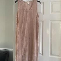 New h&m Medium Blush Pink Midi Pleated Satin Silky Dress  Photo