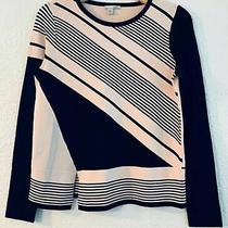 New Halogen Nordstrom Women's Split Hem Stripe Sweater Xs Blush Pink & Black Photo