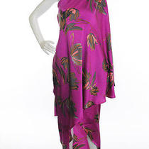 New Halston Heritage Purple Floral Asymmetrical Hem One Shoulder Dress Sz 2 Photo
