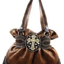 New  Handbag Rhinestone Cross Stud Detail Belted Hobo Woven Print Brown Purse Photo