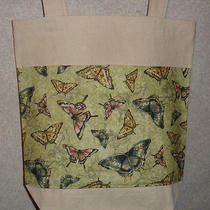 New Handmade Medium Natural Twill Pale Green Butterfly Nature Pocket Tote Bag Photo