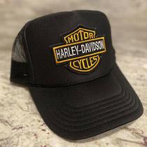 New Harley Davidson Black Cap Hat 5 Panel High Crown Trucker Snapback Vintage Photo