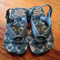 New Havaianas Baby Boy Sandal Toddler Size 6 Color Blue Top Hat Mustache Photo