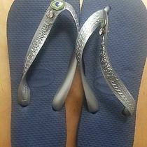 New Havaianas Flip Flops Sandals Blue 35-36 Us 6 Plus Keychain & Bag Photo
