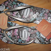 New Havaianas Sandals Flip Flop Shoes 7 7.5 8 Floral Grey  Photo