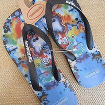 New Havaianas Sandals Flip Flop Shoes 9 9.5 10 Blue Black Photo