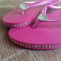 New Havaianas Slim Pink Sandals With Heart Piercing Size 9 Photo