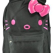 New Hello Kitty 3d Bow and Ears Backpack  Black/pink Face Photo