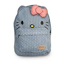 New Hello Kitty Denim Polka Dot Pink Bow Backpack Photo