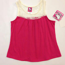 New Hello Kitty Girls Tank Top With Lace Neckline m(7-8) Nwt Photo